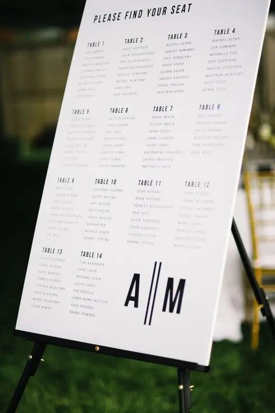 25 Modern And Creative Seating Chart Ideas - Weddingomania