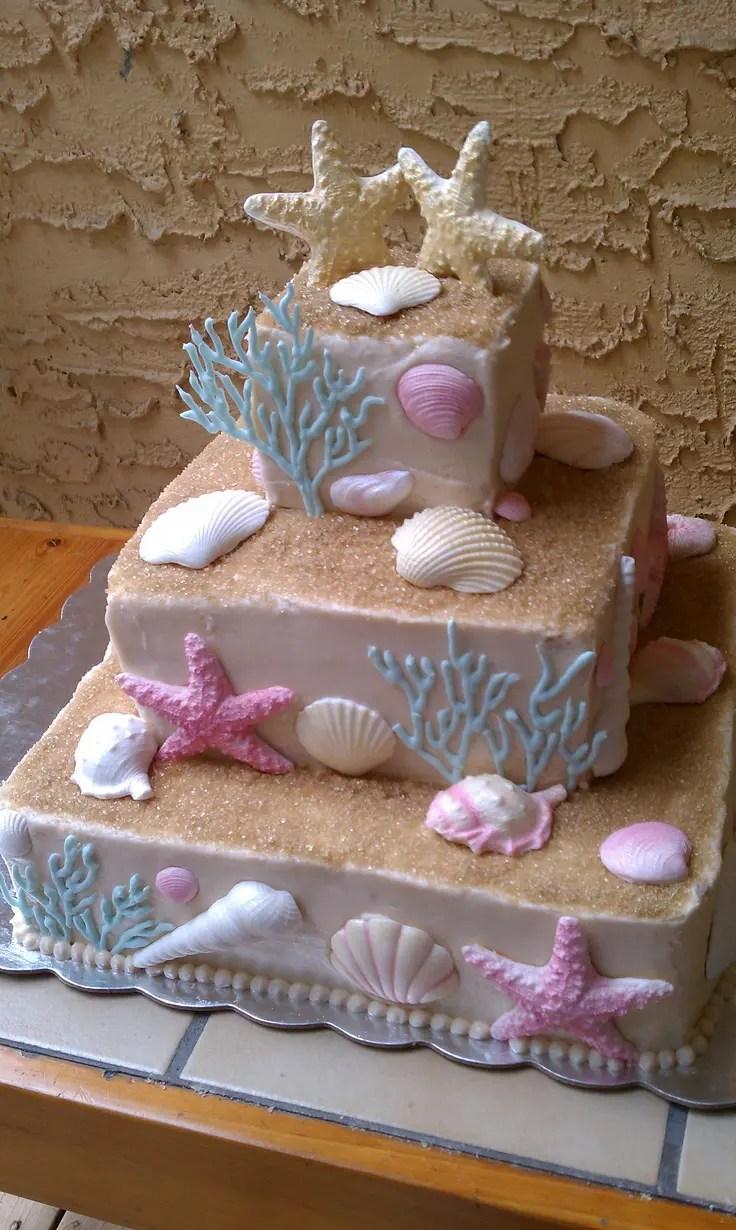 Fullsize Of Beach Wedding Cake