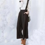 Wide Leg Pants With Suspenders