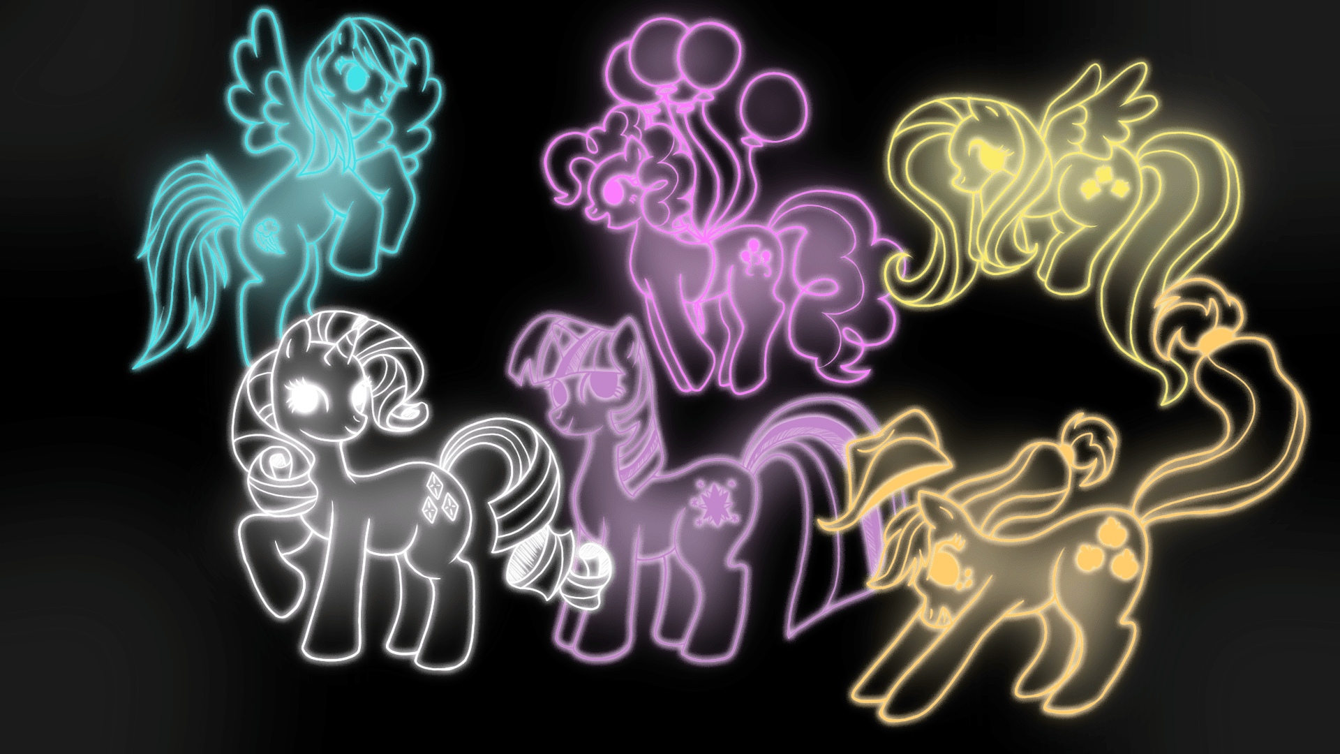 Greavity Falls Wallpaper Mane 6 Neon Art My Little Pony Friendship Is Magic