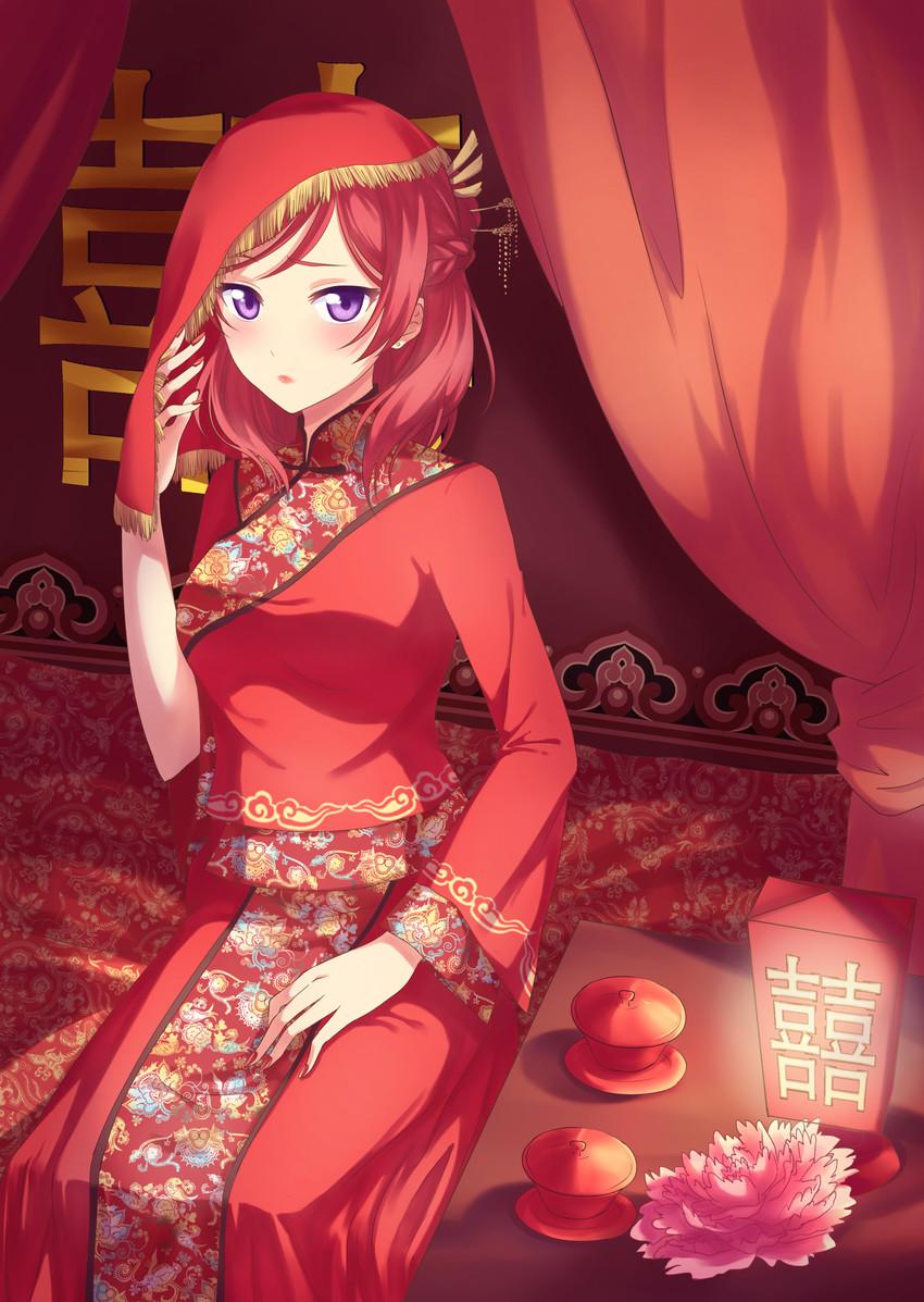 Live Wallpaper Cute Anime Girl Maki Nishikino In Chinese Bridal Clothing By 五月福音 Love