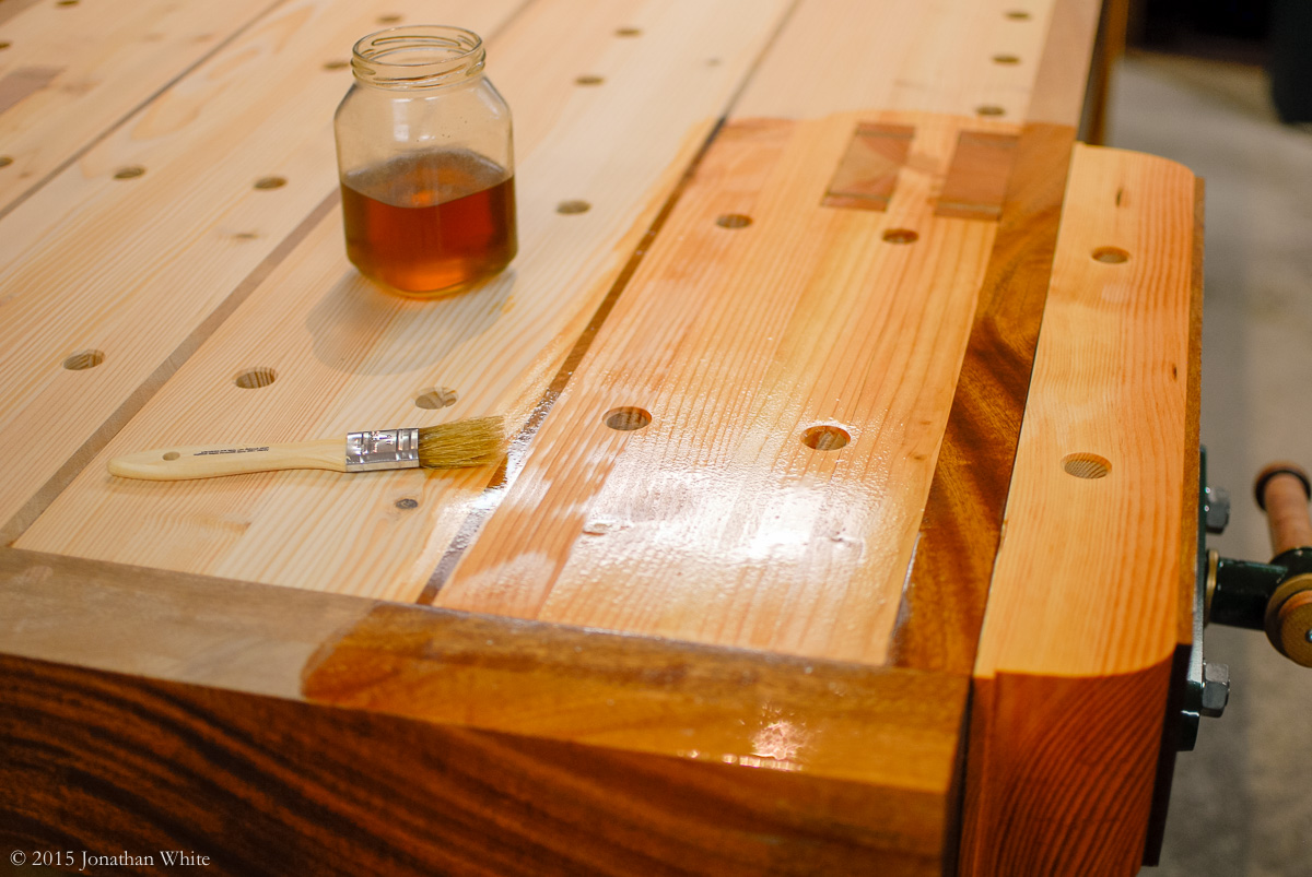 Applying Finish To The Workbench Top The Bench Blog