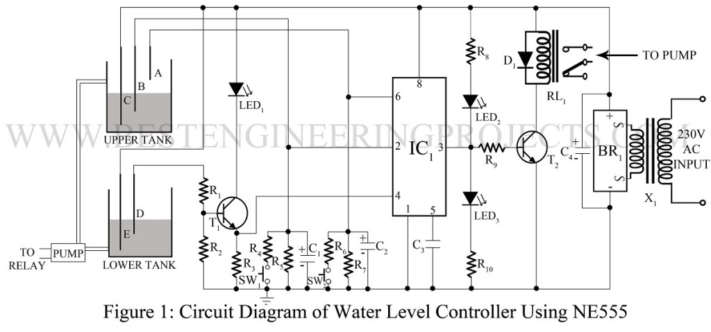 water level alarm using 555 timer