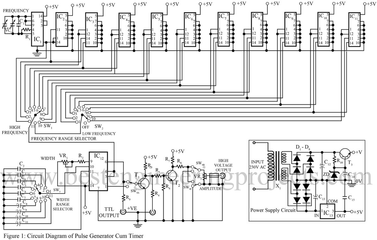 pulse generator circuit electronic circuits 8085 projects