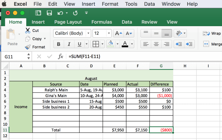 how to create a spreadsheet for bills