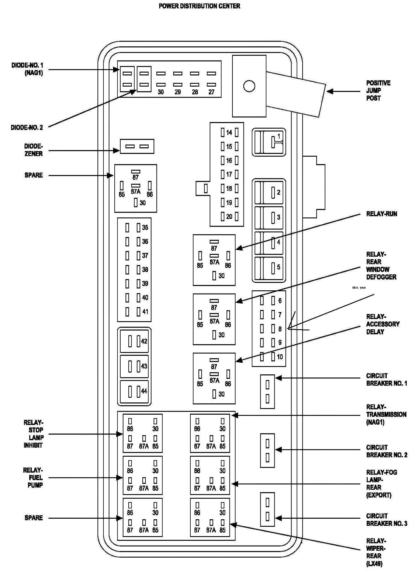 99 durango fuse box diagram