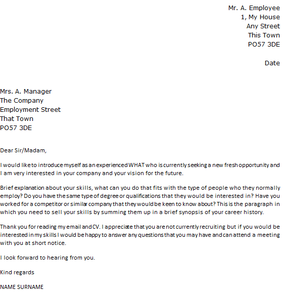 cover letter to potential employer
