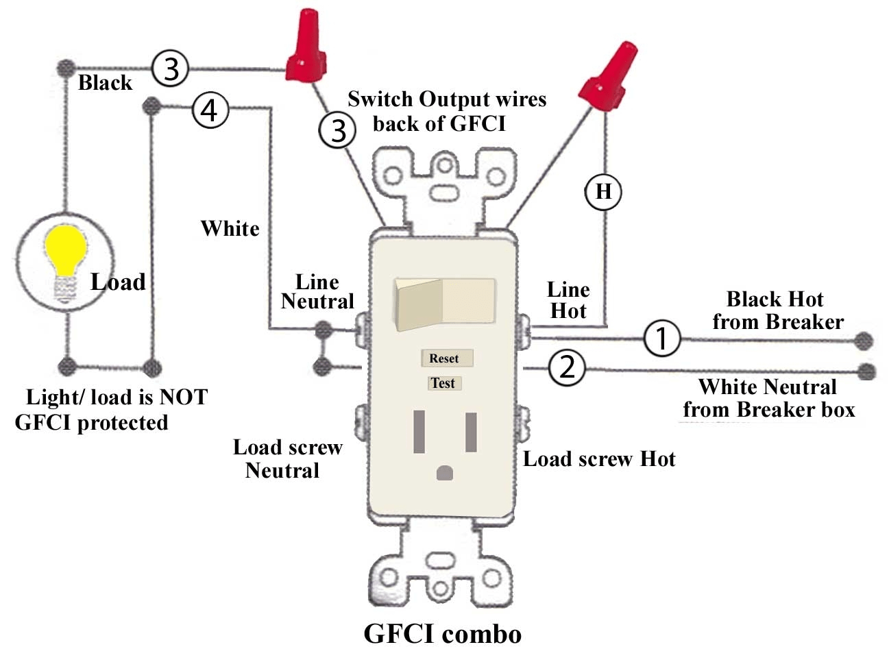 wiring gfci outlet with light switch