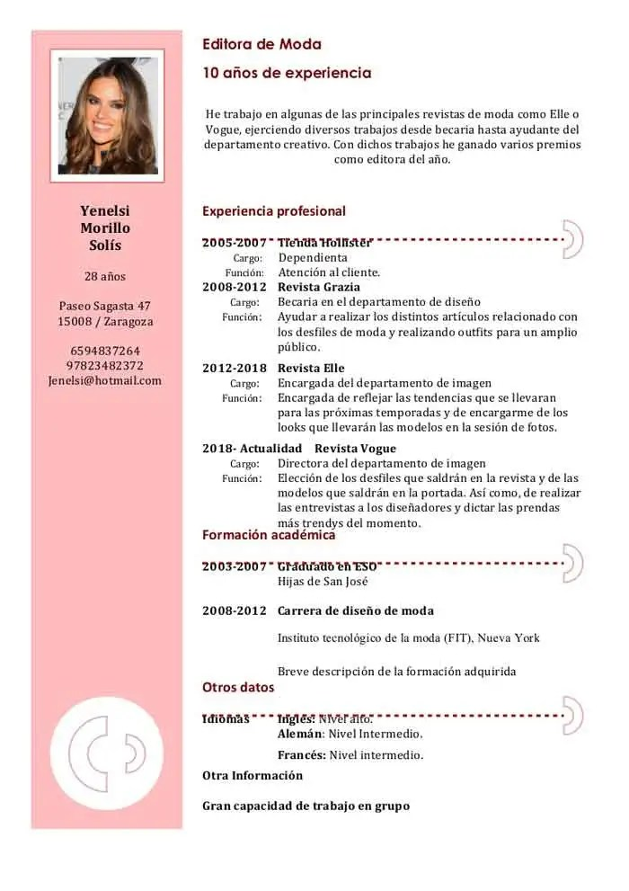 curriculum vitae ejemplos formato word sample resume service