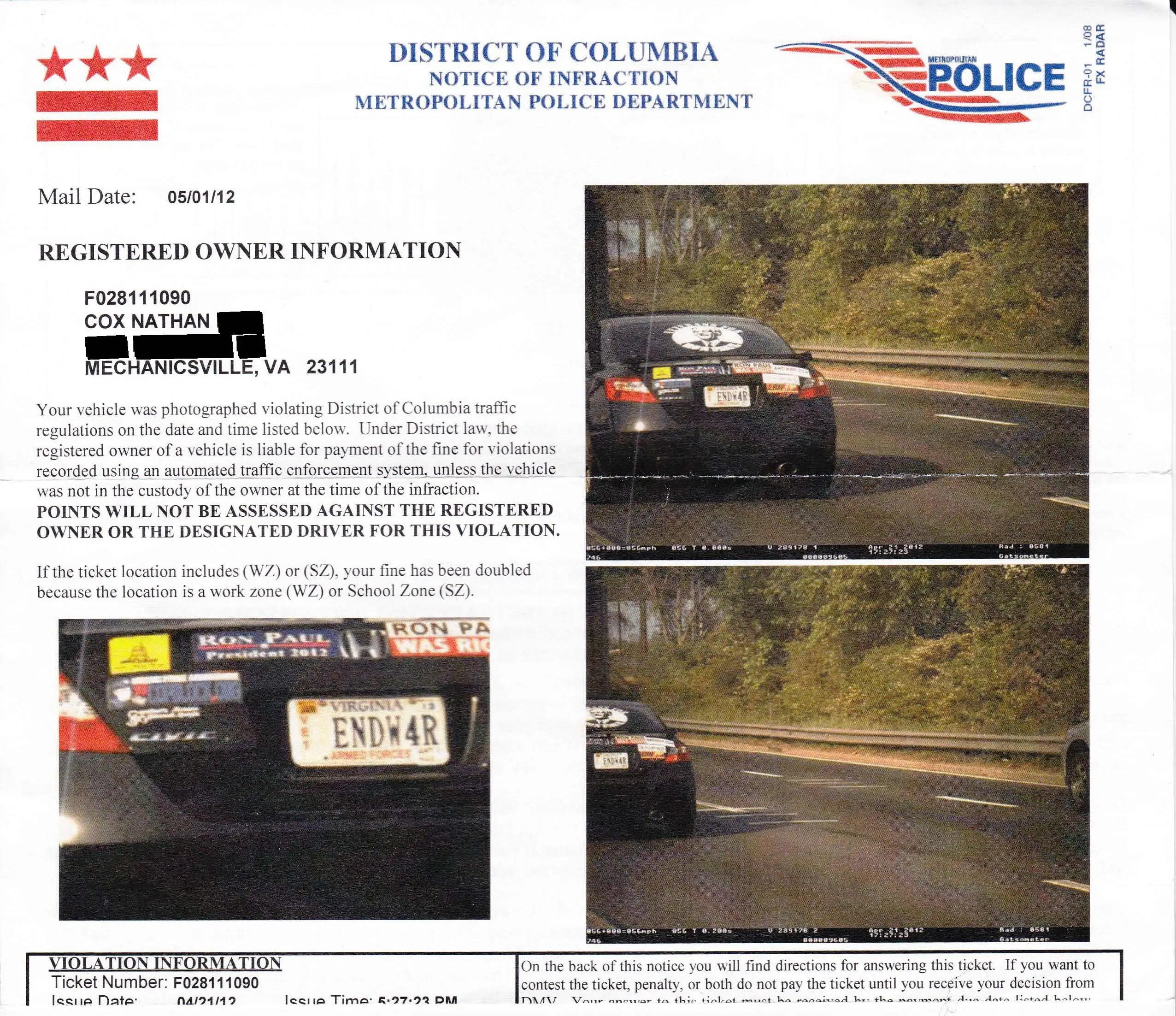 Red Light Camera Ticket Nyc Cost