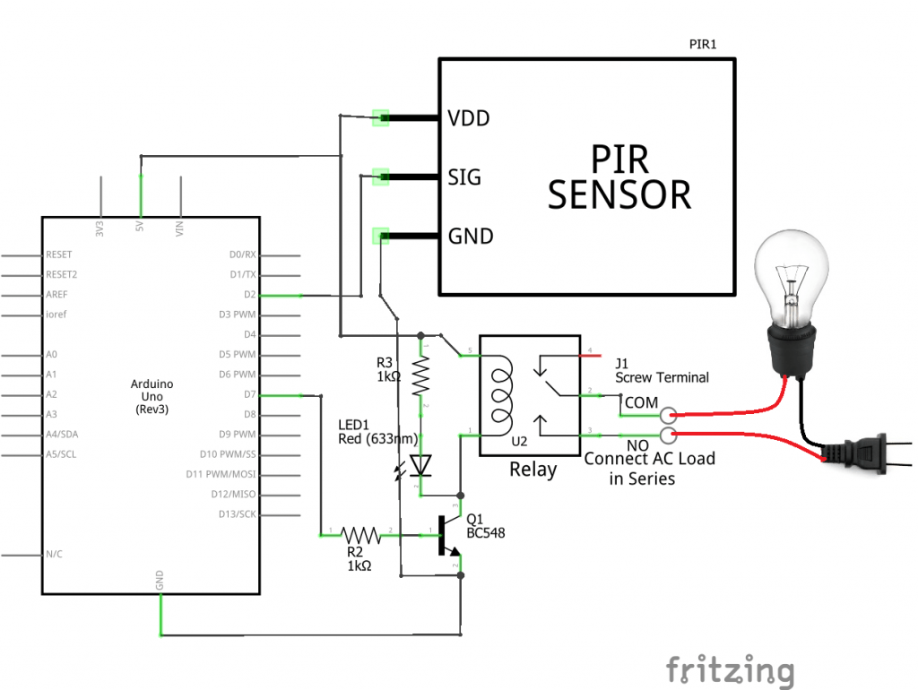 wiring a pir motion sensor light