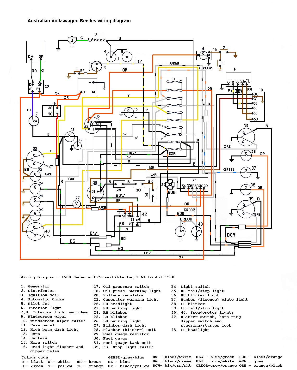 1967 vw 1500 wiring diagram