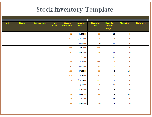 stock inventory format in excel