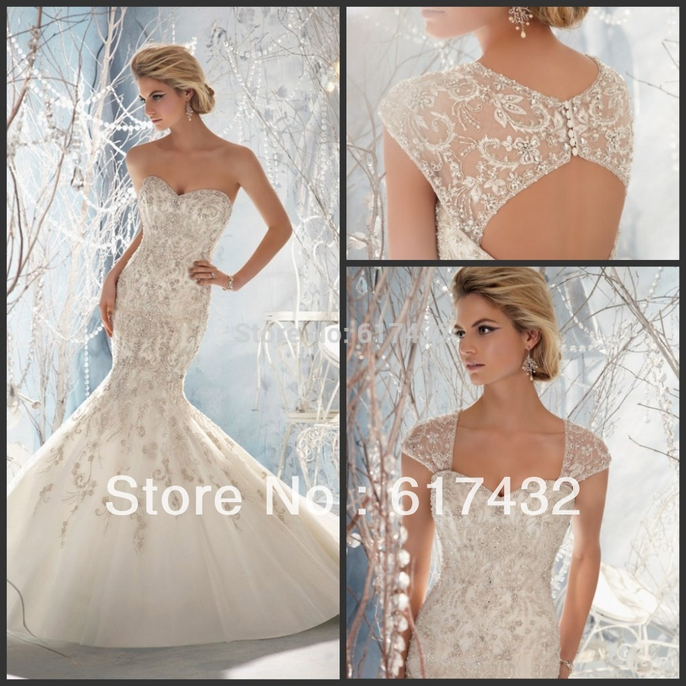 detachable wedding dress train Feel like a regal bride in this princess wedding dress with Alen on and Chantilly Lace An A line tulle skirt and detachable train add versatility while a