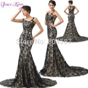 Vestido de diva Aliexpress sereia black