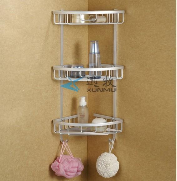 Aluminum 3 tier glass shelf shower holder bathroom