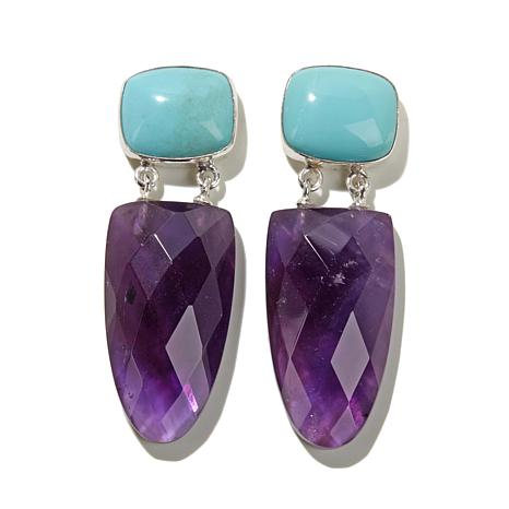 Jay king amethyst and turquoise drop sterling silver