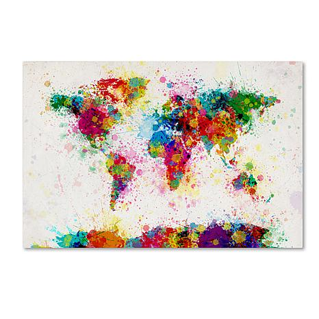 Michael Tompsett \u0027Paint Splashes World Map\u0027 Giclee Print - 30\