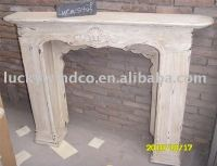 Shabby chic wood fireplace mantel