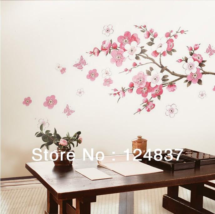 sakura flower bedroom room vinyl decal art diy home decor wall sticker pink flower wall stickers living room bedroom wall art decals