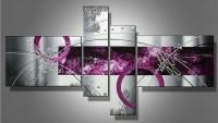 handmade 4 piece black white purple modern abstract oil ...