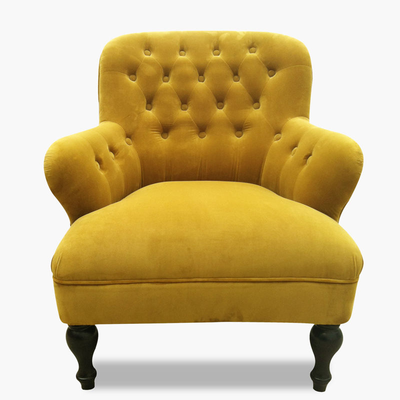 High end yellow flannel fabric occasional chair armchair solid wood