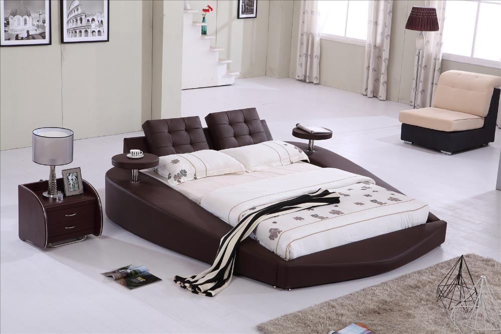 Circle Beds For Sale Round Bed, King size bed Top Grain Leather headrest round Soft Bed, Bedroom Furniture Soft Bed ...