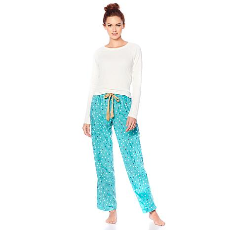 Maidenform Ribbed Top and Fleece Pant Pajama Set - 8801603 HSN