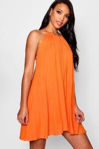 Boohoo Womens Callie Tie Neck Swing Dress | eBay