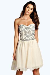 Boohoo Womens Lia Boutique Bandeau Embellished Prom Dress ...