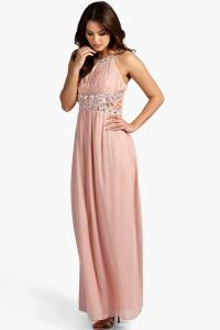 Katie Embellished Lace Detail Chiffon Maxi Dress at boohoo.com