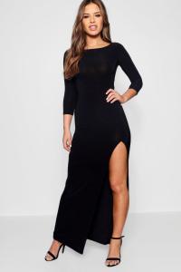 Boohoo Womens Petite Candice Side Split Slinky Maxi Dress