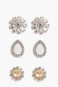 Layla Flower Stone Earring Set | Boohoo