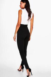 Boohoo Womens Tie Neck Tailored Jumpsuit