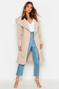 Boohoo Womens Kate Belted Shawl Collar Coat | eBay