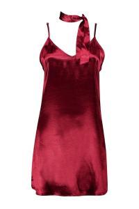 Boohoo Womens Ava Tie Neck Satin Slip Dress