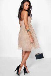 Boohoo Womens Boutique Rhia Glitter Bandeau Prom Dress | eBay