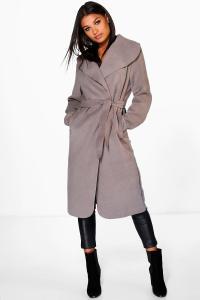 Kate Belted Shawl Collar Coat | Boohoo