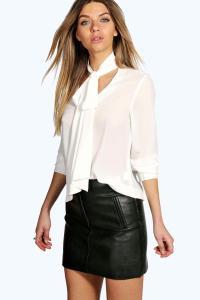 Boohoo Womens Bella Tie Neck Oversized Blouse | eBay