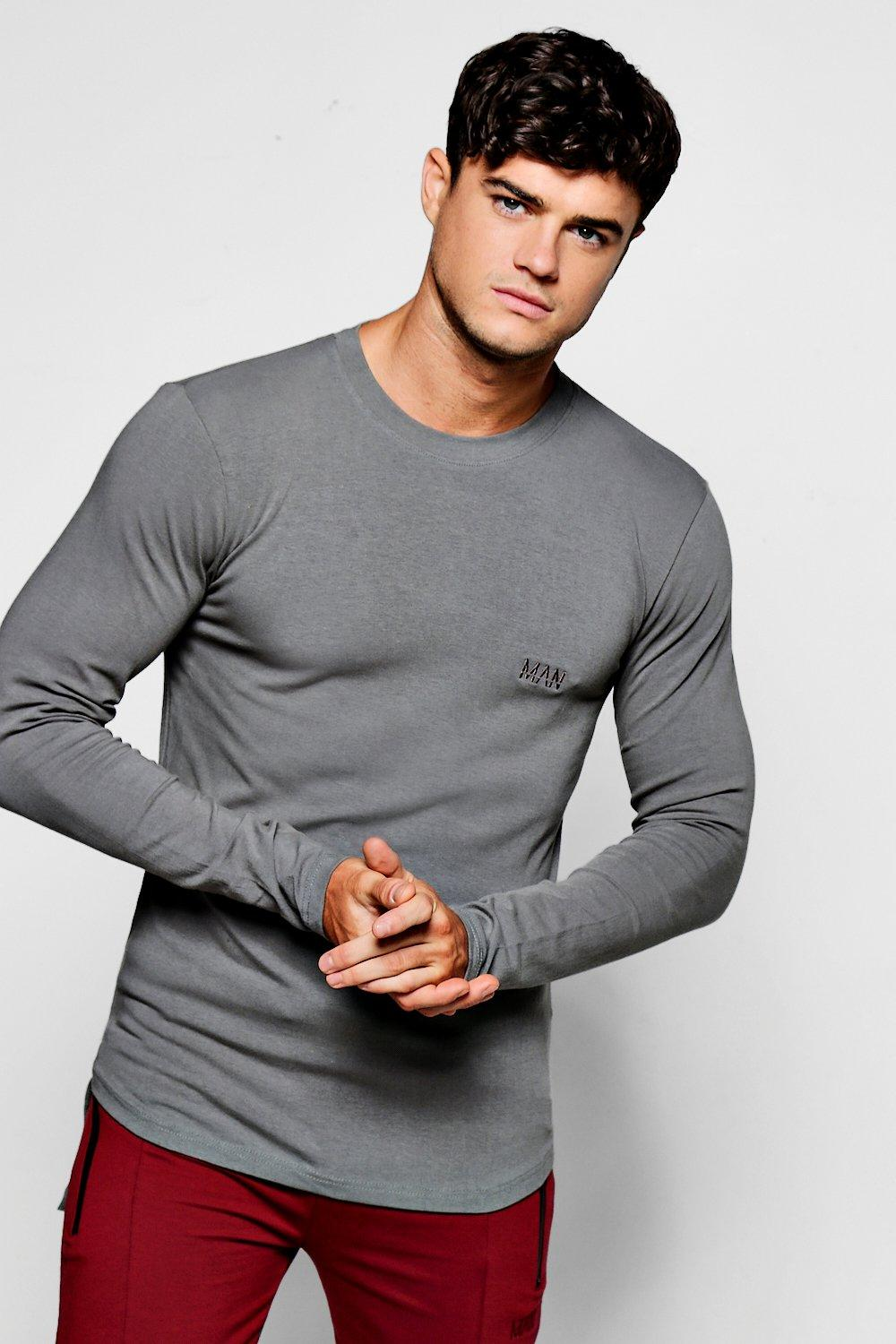 Muscle Shirt Man Branded Long Sleeve Muscle Fit T Shirt Boohoo