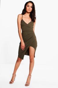 Boohoo Womens Petite Kara Strappy Wrap Asymmetric Dress