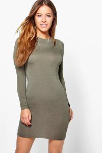 Petite Basic Long Sleeve Mini Bodycon Dress | Boohoo
