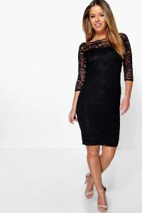 Boohoo Womens Petite Nikki Lace Bardot Midi Dress