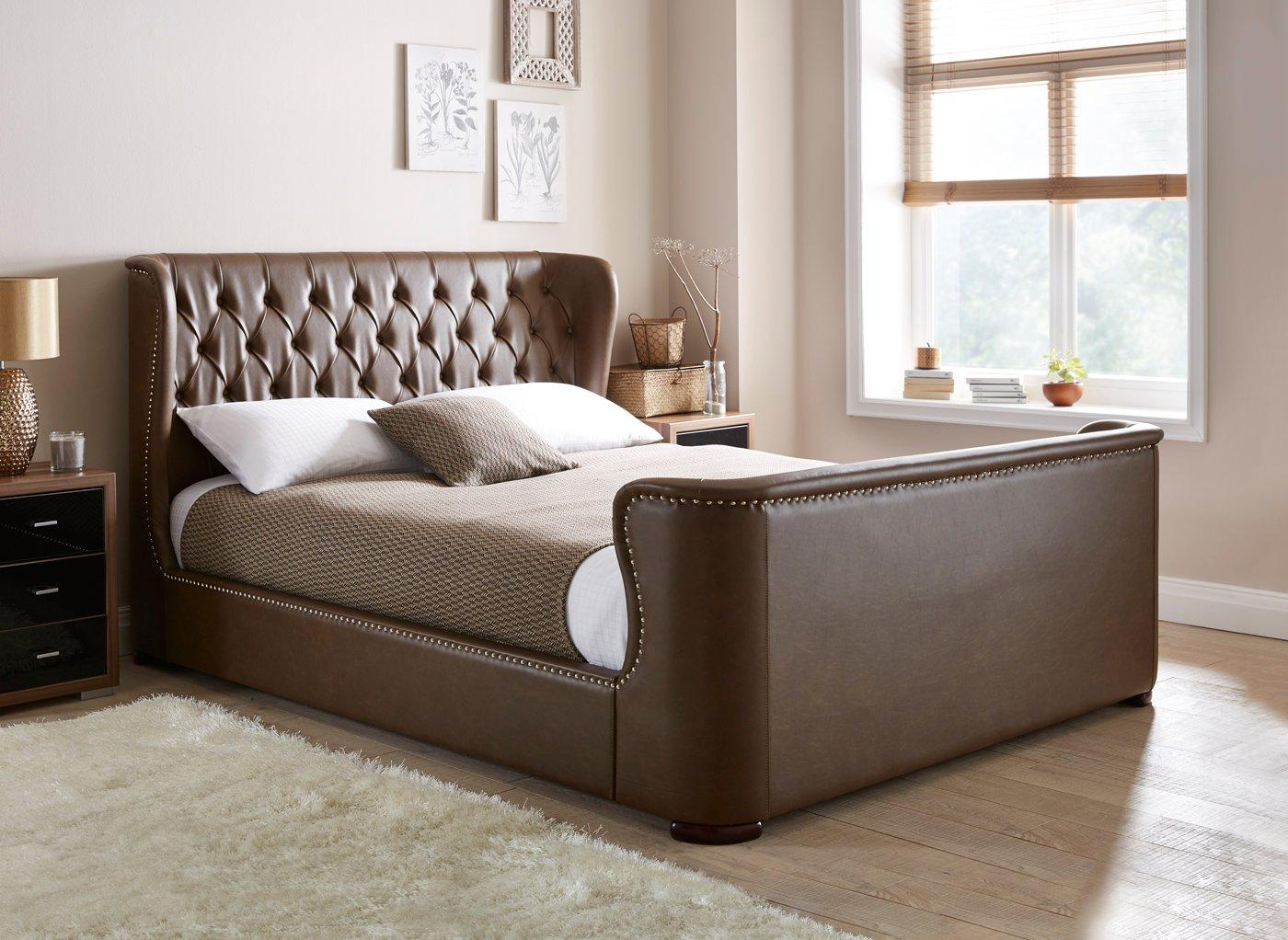 Leather Bed Brussels Upholstered Bed Frame Bonded Leather Beds Beds