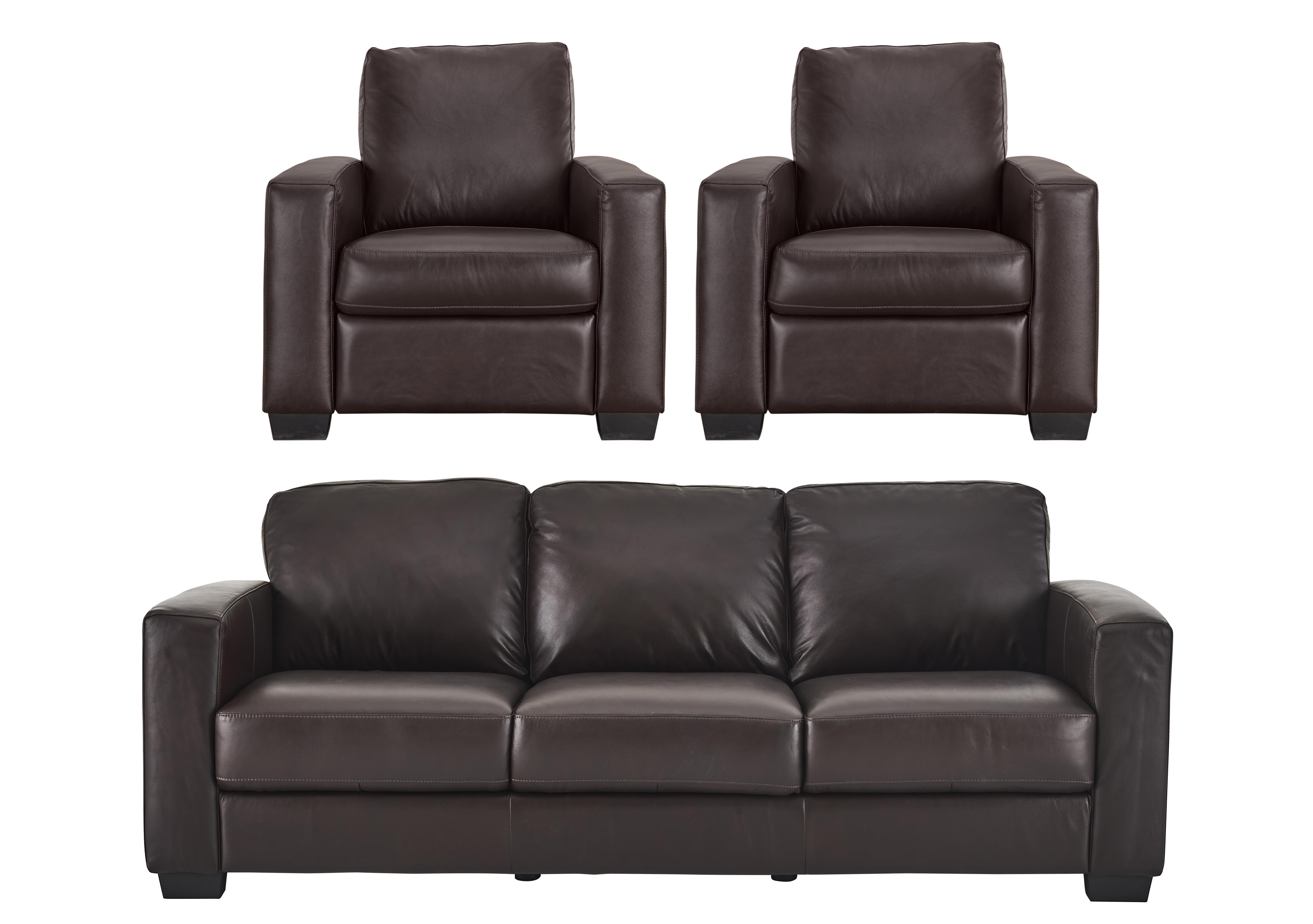 Dante 3 Leather Seater Sofa 2 Armchairs Furniture Village