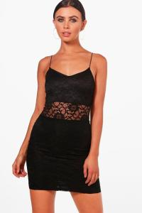 Petite Amber Lace Panelled Bodycon Dress at boohoo.com
