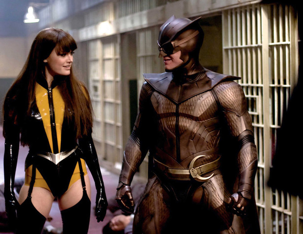 Malin Akerman and Patrick Wilson in 'Watchmen'