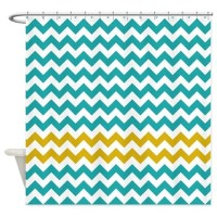 Turquoise Yellow Chevron Stripes Shower Curtain by