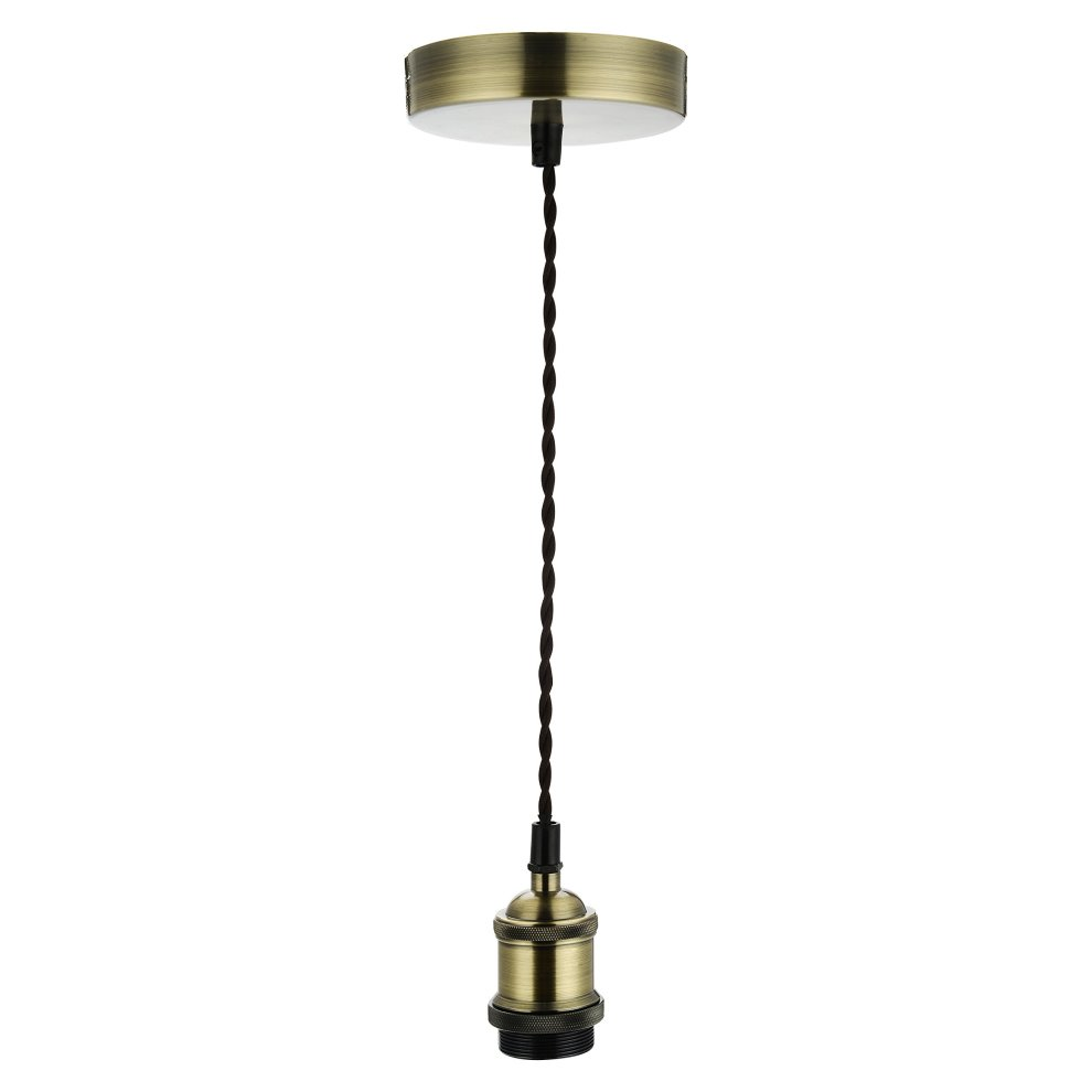 Fittingen Lampen Cozzy Vintage Ceiling Pendant Light Fitting Brown Twisted Braided Flex E27 Lamp Holder Suspended Pendant Light Fitting Kit Antique Brass
