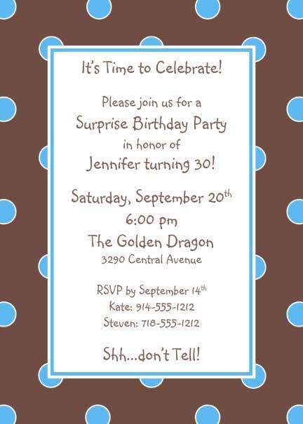 Polka Dot Invitation, Brown and Blue